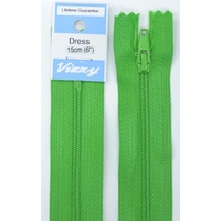 Vizzy Dress Zip, 15cm Colour 111 GRASS GREEN, A Quality Brand Name Zipper.