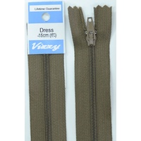 Vizzy Dress Zip, 15cm Colour 12 CHESTNUT, A Quality Brand Name Zipper.