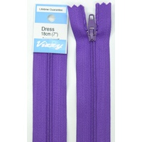 Vizzy Dress Zip, 18cm Colour 109 PURPLE, A Quality Brand Name Zipper