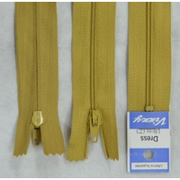 Vizzy Dress Zip, 18cm Colour 18 MUSTARD, A Quality Brand Name Zipper