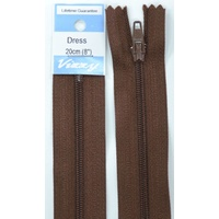 Vizzy Dress Zip, 20cm Colour 107 BROWN, A Quality Brand Name Zipper