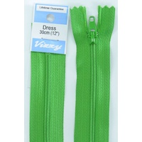 Vizzy Dress Zip, 30cm Colour 111 GRASS GREEN, A Quality Brand Name Zipper
