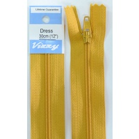 Vizzy Dress Zip, 30cm Colour 113 OLD GOLD, A Quality Brand Name Zipper