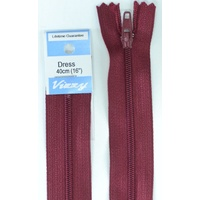 Vizzy Dress Zip, 40cm Colour 108 BURGUNDY, A Quality Brand Name Zipper