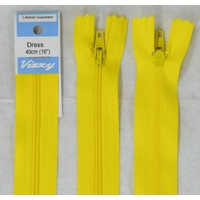 Vizzy Dress Zip, 40cm Colour 20 YELLOW, A Quality Brand Name Zipper