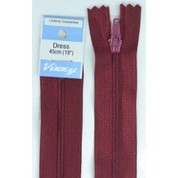 Vizzy Dress Zip, 45cm Colour 108 BURGUNDY, A Quality Brand Name Zipper