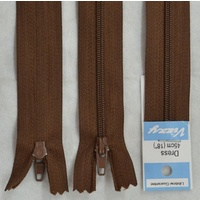 Vizzy Dress Zip, 45cm Colour 13 CHOCOLATE, A Quality Brand Name Zipper