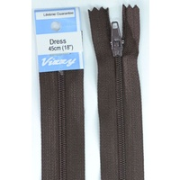 Vizzy Dress Zip, 45cm Colour 14 BROWN, A Quality Brand Name Zipper