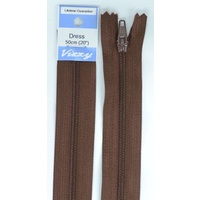 Vizzy Dress Zip, 50cm Colour 107 BROWN, A Quality Brand Name Zipper
