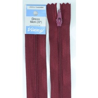 Vizzy Dress Zip, 50cm Colour 108 BURGUNDY, A Quality Brand Name Zipper