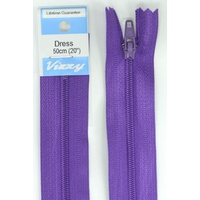 Vizzy Dress Zip, 50cm Colour 109 PURPLE, A Quality Brand Name Zipper