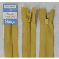 Vizzy Dress Zip, 50cm Colour 18 MUSTARD, A Quality Brand Name Zipper
