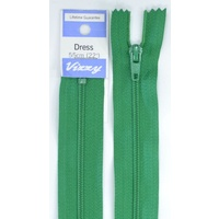 Vizzy Dress Zip, 55cm Colour 110 EMERALD, A Quality Brand Name Zipper