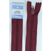 Vizzy Dress Zip, 60cm Colour 108 BURGUNDY, A Quality Brand Name Zipper