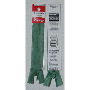 Vizzy Invisible Zip 10cm, Colour 120 DUSTY GREEN, A Quality Brand Name Zipper