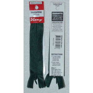 Vizzy Invisible Zip 10cm, Colour 46 HUNTER GREEN, A Quality Brand Name Zipper