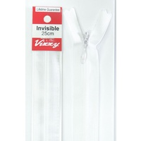 Vizzy Invisible Zip 25cm, Colour 01 WHITE