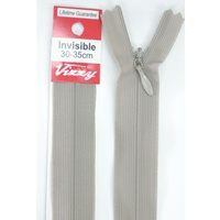 Vizzy Invisible Zip 30-35cm, Colour 114 SCHOOL GREY, A Quality Brand Name Zipper