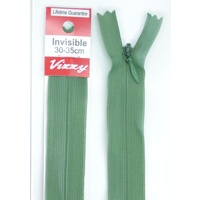Vizzy Invisible Zip 30-35cm, Colour 120 DUSTY GREEN, A Quality Brand Name Zipper