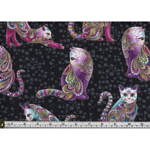 Cat-I-Tude, Artist-O-Cats Black with Gold Metallic Print # 7122/112, 100% Cotton Print Fabric