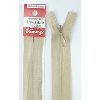 Vizzy Woven Tape Invisible Zip 18-23cm Colour 07 NATURAL, A Quality Brand Name Zipper