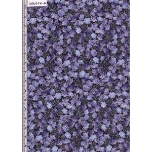 Violet Twilight, Pearly Blooms Navy Purple (2066), 110cm Wide