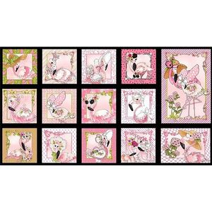 Flamingo Fancy, Flams PANEL Black, 60cm x 110cm