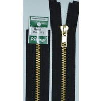 Vizzy Metal Open End Zip 65cm Colour 02 BLACK, A Quality Brand Name Zipper