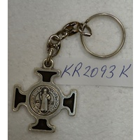 Keyring, Saint Benedict, Black Enamelled Cross, Heavy Duty