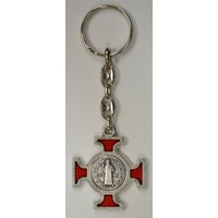 Keyring, Saint Benedict, RED Enamelled Cross, Heavy Duty