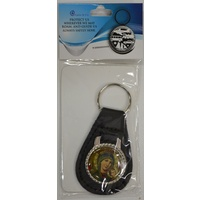 Our Lady of Perpetual Help Leather Keyring Medallion 30mm, 80mm Overall Length