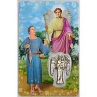 SAINT RAPHAEL, Window Prayer Card & Charm, 54 x 85mm, Inspirational Card