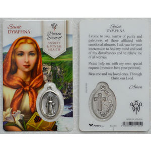 St Dymphna, Patron Saint Of Anxiety & Mental Health Laminated Window Prayer Card 54 x 85mm