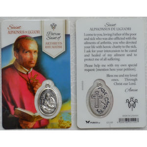 St Alphonsus De Liguori, Patron Saint Of Arthritis Rheumatism Laminated Window Prayer Card 54 x 85mm