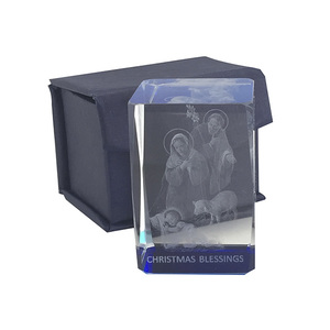 Laser Crystal Block, NATIVITY Image, Ornate Block. 40mm Sq. x 60mm