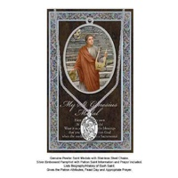 Pewter Saint Genesius Medal Pendant, 15 x 24mm Oval, Stainless Steel Chain & Biography