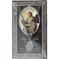 Pewter Saint John Medal Pendant, 17 x 24mm Oval, Stainless Steel Chain & Biography