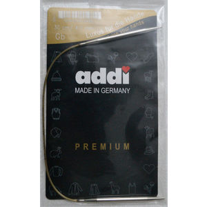 Addi Circular Knitting Needle 30cm x 4.00mm White Brass Tips, Gold Cords