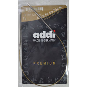 Addi Circular Knitting Needle 40cm x 3.25mm White Brass Tips, Gold Cords