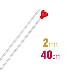 Addi Knitting Needle 40cm x 2.00mm, Aluminium Heart
