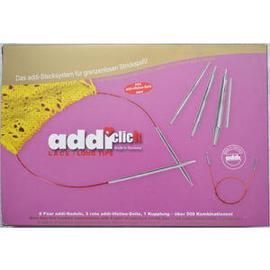 Addi Addiclick Case, Circular Needles Assorted Pouch, Lace Long Mix