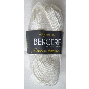 Bergere Yarn, Coton Satine 100% Mercerised Cotton, 50g, Ecru