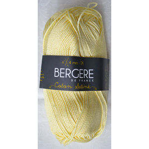 Bergere Yarn, Coton Satine 100% Mercerised Cotton, 50g, Paille