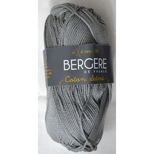 Bergere Yarn, Coton Satine 100% Mercerised Cotton, 50g, Gris