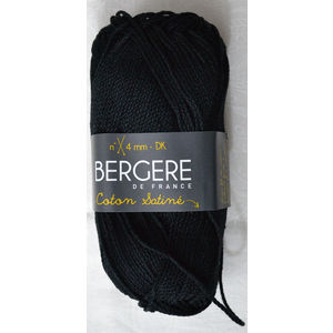 Bergere Yarn, Coton Satine 100% Mercerised Cotton, 50g, Noir