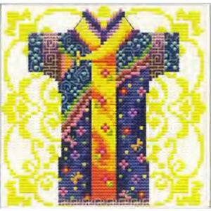 No Count Cross Stitch Kit Male Geisha Blue 12 x 12cm