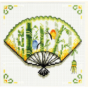 No Count Cross Stitch Kit Bamboo Fan 12 x 12cm