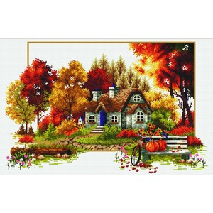 No Count Cross Stitch Kit AUTUMN COTTAGE, 48 x 31cm