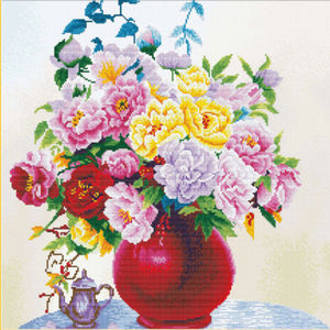 No Count Cross Stitch Kit CABBAGE ROSES IN A VASE, 40 x 40cm