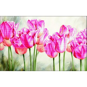 Needleart World No Count Cross Stitch Kit PINK TULIPS, 67 x 42cm
